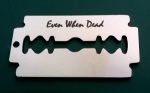 picture of engraved razor blade tag
