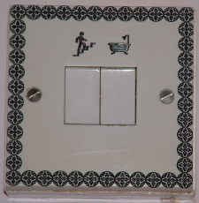 medium size picture of engraved 2 way light switch